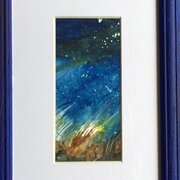 Night Stars, SOLD, watercolour, framed 25 x 18 cm