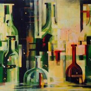 Breaking Bottles, acrylic on canvas, SOLD